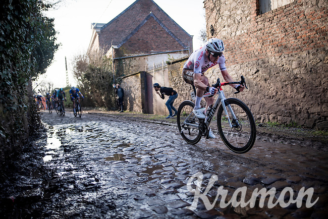 Stan Dewulf (BEL/AG2R Citroën) going for a mini-wheelie over the cobbles<br /> <br /> 53rd Le Samyn 2021<br /> ME (1.1)<br /> 1 day race from Quaregnon to Dour (BEL/205km)<br /> <br /> ©kramon