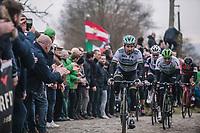 World Champion Peter Sagan (SVK/Bora Hansgrohe) chasing on the cobbles of the 'oude kwaremont'<br /> <br /> 61th E3 Harelbeke 2018 (1.UWT)<br /> 1day race: Harelbeke › Harelbeke - BEL (206km)