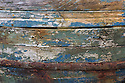 Detail of old wooden fishing boat, Isle of Mull, Scotland, UK. June.