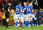 Aberdeen v St Johnstone…..05.02.20   Pittodrie   SPFL<br />Jamie McCart, Callum Booth and Liam Craig show their delight at full time<br />Picture by Graeme Hart.<br />Copyright Perthshire Picture Agency<br />Tel: 01738 623350  Mobile: 07990 594431