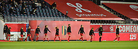 Belgian team  pictured entering the pitch of  a female soccer game between the national teams of Belgium , called the Red Flames and Switzerland on the 8 th and last matchday in group H for the qualification for the Womens EURO 2022 in England , on Tuesday 1 th of December 2020  in Leuven , Belgium . PHOTO SPORTPIX.BE   SPP   DIRK VUYLSTEKE