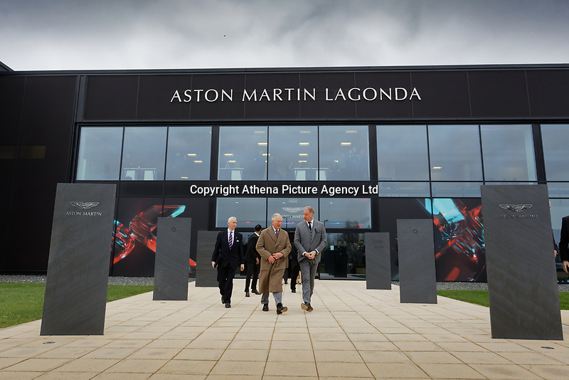 Pictured: Prince Charles leaves the factory, escorted by Marek Reichman, Executive Vice President and Chief Creative Officer. Friday 21 February 2020<br /> Re: HRH Prince Charles visits the Aston Martin Lagonda factory in St Athan, south Wales, UK.