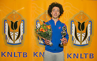 Rotterdam, The Netherlands, 15.03.2014. NOJK 14 and 18 years ,National Indoor Juniors Championships of 2014, Trophy giving on court, runner up boys 18 years Casper Bonapart<br /> Photo:Tennisimages/Henk Koster