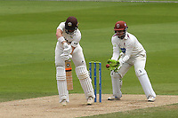 Surrey batsman, Mark Stoneman edges the ball to Somerset wicketkeeper, Steve Davies off the bowling of Jack Leach and Stoneman is out for sixty seven during Surrey CCC vs Somerset CCC, LV Insurance County Championship Group 2 Cricket at the Kia Oval on 13th July 2021