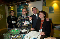 Montreal, march 28 , 2001 File Photo<br />  Montreal Mayor ;Pierre Bourque visit the Eco-Montreal booth , after  the opening of Americana 2001 conference and trade show on environmental technologies and waste management march 28, 2001 in Montreal, CANADA.<br /> <br /> Bourque is currentlyrunning for reelection against former Quebec Minister Gerald Tremblay<br /> <br /> Photo by Pierre Roussel / Alpha-Presse<br /> NOTE :  D-1 Uncorrected JPEG opened with QUIMAGE profile, saved in Adobe 1998 RGB color space