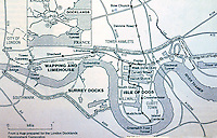 London: Docklands Map with location of main areas and transport routes. ARCH. REVIEW APRIL 1989.    Reference only.