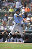 Tampa Bay Rays designated hitter Austin Meadows (17) during a Grapefruit League Spring Training game against the Baltimore Orioles on March 1, 2019 at Ed Smith Stadium in Sarasota, Florida.  Tampa Bay defeated Baltimore 10-5.  (Mike Janes/Four Seam Images)