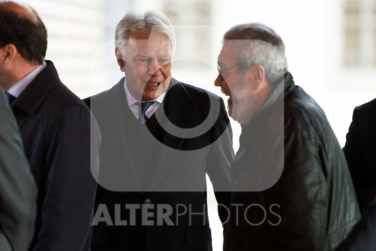 Felipe Gonzalez and Candido Mendez attends to the act of imposition of the great cross of the civil order of Alfonso X el Sabio to D. Francisco Luzon Lopez at Reina Sofia Museum in Madrid. March 13, 2017. (ALTERPHOTOS/Borja B.Hojas)