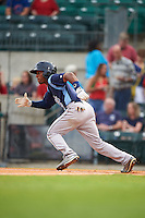 Corpus Christi Hooks second baseman Tony Kemp (7) runs to first during a game against the Arkansas Travelers on May 29, 2015 at Dickey-Stephens Park in Little Rock, Arkansas.  Corpus Christi defeated Arkansas 4-0 in a rain shortened game.  (Mike Janes/Four Seam Images)