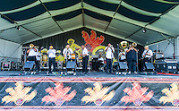 The New Wave Brass Band performs at Jazz Fest 2016 in New Orleans, LA.