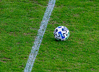WASHINGTON, DC - NOVEMBER 8: An Adidas ball rolls towards the line during a game between Montreal Impact and D.C. United at Audi Field on November 8, 2020 in Washington, DC.