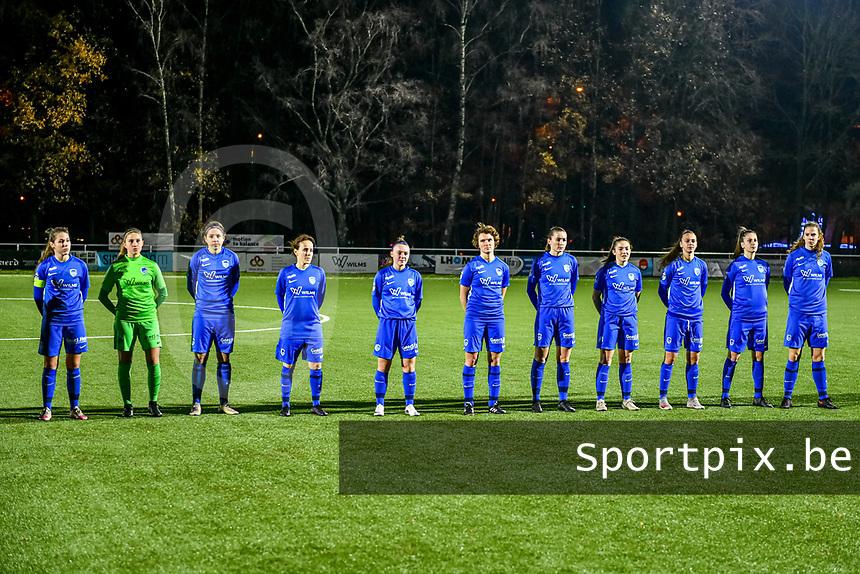 Line-up team KRC Genk ( midfielder Sien Vandersanden (10) of KRC Genk , goalkeeper Joséphine Delvaux (1) of KRC Genk , midfielder Lorene Martin (6) of KRC Genk , defender Silke Sneyers (2) of KRC Genk , Fleur Pauwels (66) of KRC Genk , forward Lotte Van Den Steen (15) of KRC Genk , defender Sterre Gielen (14) of KRC Genk , midfielder Emily Steijvers (33) of KRC Genk , defender Fleur Bienkens (23) of KRC Genk , forward Gwen Duijsters (13) of KRC Genk , forward Hanne Merkelbach (25) of KRC Genk ) pictured during a female soccer game between  Racing Genk Ladies and Club Brugge YLA on the 10 th matchday of the 2020 - 2021 season of Belgian Scooore Womens Super League , friday 18 th of December 2020  in Genk , Belgium . PHOTO SPORTPIX.BE | SPP | STIJN AUDOOREN