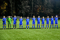Line-up team KRC Genk ( midfielder Sien Vandersanden (10) of KRC Genk , goalkeeper Joséphine Delvaux (1) of KRC Genk , midfielder Lorene Martin (6) of KRC Genk , defender Silke Sneyers (2) of KRC Genk , Fleur Pauwels (66) of KRC Genk , forward Lotte Van Den Steen (15) of KRC Genk , defender Sterre Gielen (14) of KRC Genk , midfielder Emily Steijvers (33) of KRC Genk , defender Fleur Bienkens (23) of KRC Genk , forward Gwen Duijsters (13) of KRC Genk , forward Hanne Merkelbach (25) of KRC Genk ) pictured during a female soccer game between  Racing Genk Ladies and Club Brugge YLA on the 10 th matchday of the 2020 - 2021 season of Belgian Scooore Womens Super League , friday 18 th of December 2020  in Genk , Belgium . PHOTO SPORTPIX.BE | SPP | STIJN AUDOOREN