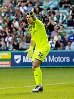 28th August 2021;  Easter Road , Leith, Edinburg, Scotland; Scottish Premier League football, Hibernian versus Livingston; Maksymilian Stryjek of Livingston shouts out orders to his defence