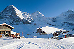 CHE, Schweiz, Kanton Bern, Berner Oberland, Grindelwald: Skiregion Kleine Scheidegg mit Eiger (3.970 m), Moench (4.107 m) und Jungfrau (4.158 m) | CHE, Switzerland, Canton Bern, Bernese Oberland, Grindelwald: Kleine Scheidegg - ski area with Eiger, Moench + Jungfrau mountains