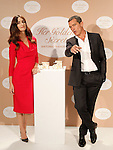 Spanish actors Paz Vega (l) and Antonio Banderas attend the presentation of the perfume 'Her Golden Secret'. September 10, 2013. (ALTERPHOTOS/Acero)