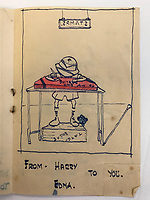BNPS.co.uk (01202) 558833<br /> Pic: Tennants/BNPS<br /> <br /> Captain Harry Witheford's birthday sketch for his wife Edna<br /> <br /> A British prisoner of war's drawings and photographs of the building of the notorious 'Death Railway' in Burma have sold for £5,000.<br /> <br /> Captain Harry Witheford's accomplished sketches highlight the horrific ordeal endured by the captured soldiers at the hands of their Japanese captors in World War Two.<br /> <br /> The so-called Death Railway along the River Kwai claimed the lives of 12,000 Allied PoWs who were subjected to forced labour during its construction.