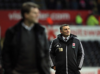 Wednesday, 12 December 2012<br /> Pictured L-R: Swansea manager Michael Laudrup and Middlesbrough manager Tony Mowbray<br /> Re: Capital One Cup, fifth round, Swansea City FC v Middlesbrough at the Liberty Stadium, south Wales.