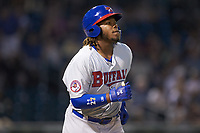 Vladimir Guerrero Jr. (47) of the Buffalo Bison walks to first base during the game against the Charlotte Knights at BB&T BallPark on August 14, 2018 in Charlotte, North Carolina. The Bison defeated the Knights 14-5.  (Brian Westerholt/Four Seam Images)