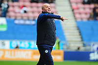 Paul Cook Manager of Wigan Athletic reacts during the Sky Bet Championship match between Wigan Athletic and Swansea City at The DW Stadium in Wigan, England, UK. Saturday 2 November 2019