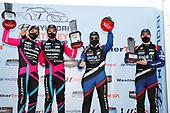 #86 Meyer Shank Racing w/Curb-Agajanian Acura NSX GT3, GTD: Mario Farnbacher, Matt McMurry, #57 Heinricher Racing w/MSR Curb-Agajanian Acura NSX GT3, GTD: Alvaro Parente, Misha Goikhberg, podium
