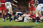 Wales lock Jake Ball hauls down Tim Swinson.<br /> RBS 6 Nations 2014<br /> Wales v Scotland<br /> Millennium Stadium<br /> <br /> 15.03.14<br /> <br /> ©Steve Pope-SPORTINGWALES