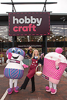 Jessica Salt pictured with two of Hobbycraft's cuddly mascots