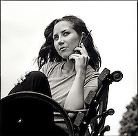 Woman talking on cellular phone<br />