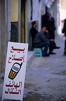 Afrique/Maghreb/Maroc/El-Jadida : Dans les souks - Déatil d'une enseigne de téléphone mobile