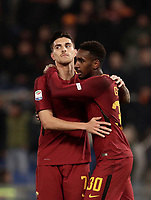 Calcio, Serie A: AS Roma - Torino Roma, stadio Olimpico, 9 marzo, 2018.<br /> Roma's Lorenzo Pellegrini (l) celebrates after scoring with his teammate Gerson Santos Da Silva (r) during the Italian Serie A football match between AS Roma and Torino at Rome's Olympic stadium, 9 marzo, 2018.<br /> UPDATE IMAGES PRESS/Isabella Bonotto