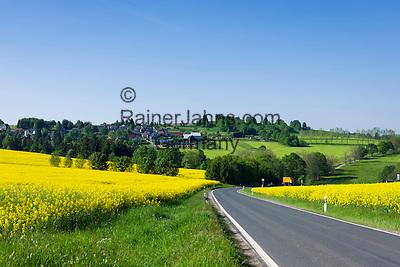 Germany, Free State of Thuringia, near Allersdorf (Herschdorf): yellow rape fields at rural road L 2389   Deutschland, Freistaat Thueringen, bei Allersdorf (Herschdorf): Rapsfelder an der L 2389