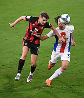 15th September 2020; Vitality Stadium, Bournemouth, Dorset, England; English Football League Cup, Carabao Cup Football, Bournemouth Athletic versus Crystal Palace; Nya Kirby of Crystal Palace competes for the ball with David Brooks of Bournemouth