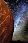 A beautiful Milky Way complements an assortment of Anasazi petroglyphs including a centipede.