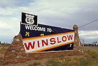 Winslow, Arizona still remembers good old US route 66.  Americana, roadways, signs, highways. Arizona.
