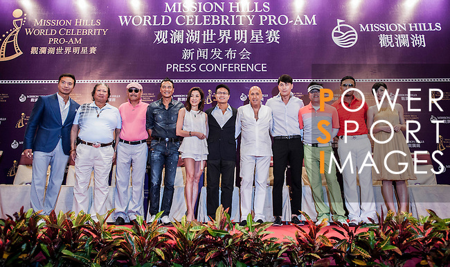Press conference during the Mission Hills World Celebrity Pro-Am at the Haikou Mission Hills Resort on October 20, 2012, in China's province of Hainan. Celebrity participants include Oscar-winning actor Adrien Brody, Oscar-nominated actor Andy Garcia, Canadian film and television actor Ryan Reynolds, American actress Minka Kelly and Korea's top male movie star Jeong Woo-Seong. Photo by Xaume Olleros / The Power of Sport Images for Mission Hills