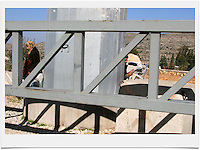 Palestinians woman are seen next to a massive metal gate block at the the exit of the Palestinian village of al-Tira  to Road No. 443. Road 443 is one of the main throughways of the West Bank. Its overall length is 25.5 KM, 14 out of which run through the heart of the West Bank. .With the break of the second Intifada at the end of 2000, Israel had severely restricted Palestinian movement on road 443, which was their main road from the Beit Sira, Saffa, Beit Liqiya, Kharbatha al-Misbah, Beit Ur al-Tahata, Beit Ur al-Foqqa and al-Tira villages to Ramallah. These restrictions were harshened in 2002, when Palestinian movement was completely prohibited. In recent years all entries and exits from the road to the area's villages were blocked with gates and concrete slabs. Photo by Quique Kierszenbaum