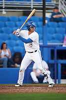 Dunedin Blue Jays first baseman Ryan McBroom (23) at bat during a game against the Palm Beach Cardinals on April 15, 2016 at Florida Auto Exchange Stadium in Dunedin, Florida.  Dunedin defeated Palm Beach 8-7 in ten innings.  (Mike Janes/Four Seam Images)