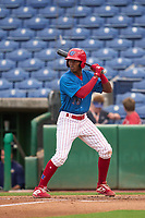 Clearwater Threshers Jadiel Sanchez (16) bats during a game against the Fort Myers Mighty Mussels on July 29, 2021 at BayCare Ballpark in Clearwater, Florida.  (Mike Janes/Four Seam Images)