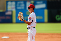 Tennessee Smokies first baseman Jared Young (13) on defense against the Rocket City Trash Pandas at Smokies Stadium on July 2, 2021, in Kodak, Tennessee. (Danny Parker/Four Seam Images)