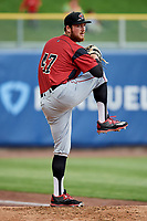 Sacramento River Cats starting pitcher Matt Gage (47) warms up in the bullpen before the game against the Salt Lake Bees at Smith's Ballpark on May 17, 2018 in Salt Lake City, Utah. Salt Lake defeated Sacramento 12-11. (Stephen Smith/Four Seam Images)
