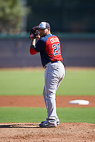 Cleveland Indians pitcher Joseph Colon (28) during an Instructional League game against the Los Angeles Dodgers on October 10, 2016 at the Camelback Ranch Complex in Glendale, Arizona.  (Mike Janes/Four Seam Images)