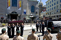 Quebec City, September 1, 2007 ? The coffin of AndrÈe Boucher is carried from the Notre Dame Basilica after her funeral in Quebec City September 1, 2007.  Boucher, the reigning Mayor of Quebec City, died Friday August 24 at 70 years of age.<br /> <br /> PHOTO :  Francis Vachon - Agence Quebec Presse