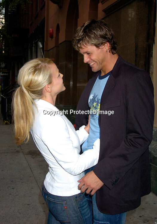 Alexa Havins and  Justin Bruening ..at the David Rodriguez Spring 2004 Fashion Show on ..September 11, 2004 at Mao at the Altman Building...Photo by Robin Platzer, Twin Images