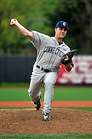 Connecticut Huskies pitcher Michael Zaccardo (33) during game against Rutgers Scarlet Knights at Bainton Field in Piscataway, New Jersey;  April 29, 2011.  Rutgers defeated Connecticut 8-3.  Photo By Tomasso DeRosa/Four Seam Images