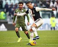 Calcio, Serie A: Juventus - Cagliari, Turin, Allianz Stadium, January 6, 2020.<br /> Juventus' Cristiano Ronaldo (r) in action with Cagliari's Nathan Nandez (l) during the Italian Serie A football match between Juventus and Cagliari at Torino's Allianz stadium, on January 6, 2020.<br /> UPDATE IMAGES PRESS/Isabella Bonotto