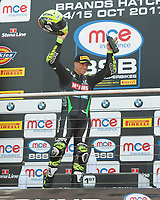 James Ellison of McAMS Yamaha after race two of the MCE British Superbikes in Association with Pirelli shows his delight on the podium after finishing third round 12 2017 - BRANDS HATCH (GP) at Brands Hatch, Longfield, England on 15 October 2017. Photo by Alan  Stanford / PRiME Media Images.