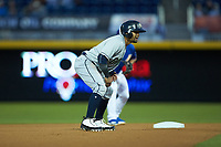Andres Blanco (13) of the Gwinnett Braves takes his lead off of second base against the Durham Bulls at Durham Bulls Athletic Park on April 20, 2019 in Durham, North Carolina. The Bulls defeated the Braves 3-2 in game two of a double-header. (Brian Westerholt/Four Seam Images)