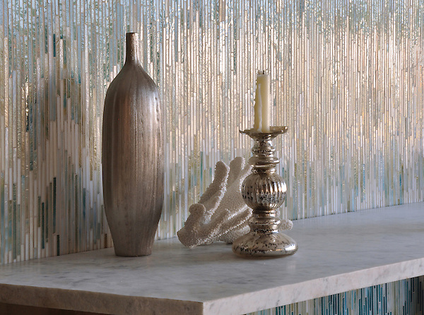 Loom, a handmade jewel glass mosaic shown in Quartz, Aquamarine, Tanzanite and Turquoise, is part of the Ikat Collection by New Ravenna.
