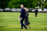 U.S. President Joe Biden and First Lady Jill Biden walk across the Ellipse of the White House to board Marine One in Washington, D.C., U.S., on Monday, May 3, 2021. Biden's $4 trillion vision of remaking the federal government's role in the U.S. economy is now in the hands of Congress, where both parties see a higher chance of at least some compromise than for the administration's pandemic-relief bill.<br /> Credit: Erin Scott / Pool via CNP /MediaPunch