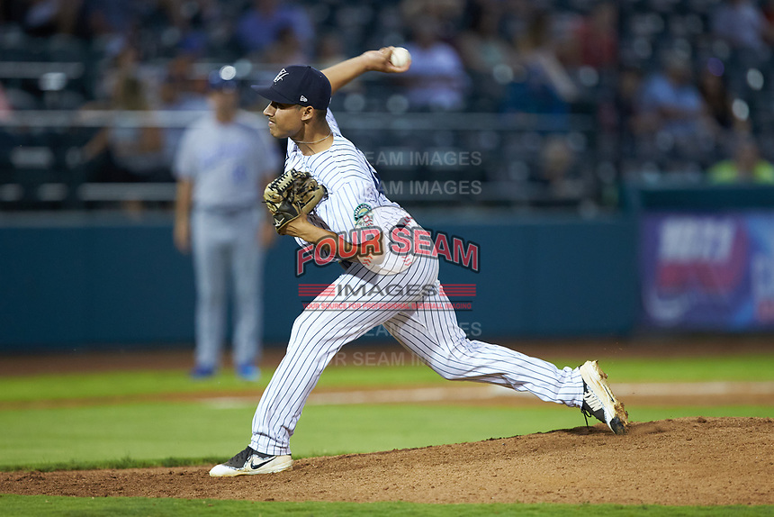 Pulaski Yankees relief pitcher Jhonatan Munoz (43) in action against the Burlington Royals at Calfee Park on August 31, 2019 in Pulaski, Virginia. The Yankees defeated the Royals 6-0. (Brian Westerholt/Four Seam Images)